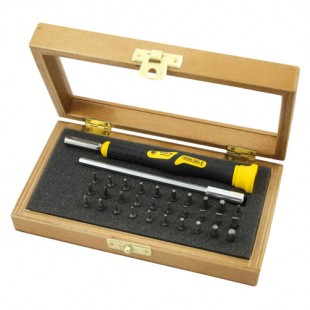 Set of micro bits 4mm with screwdriver in wooden box