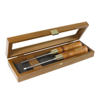 Set of skew chisels in wooden box