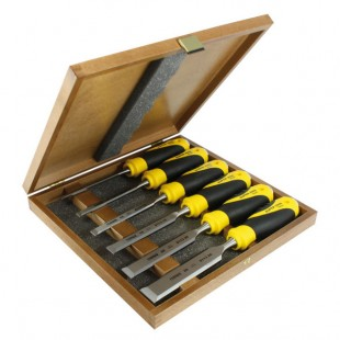 Set of bevel edge chisels in wooden box