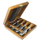 Set of butt chisels in wooden box
