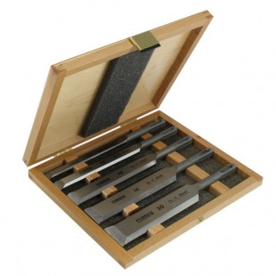 Set of machine chisels in wooden box