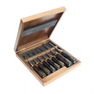 Set of screwdrivers in wooden box