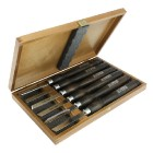 Set of woodturning chisels in wooden box