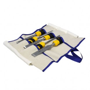 Set of bevel edge chisels in canvas tool roll