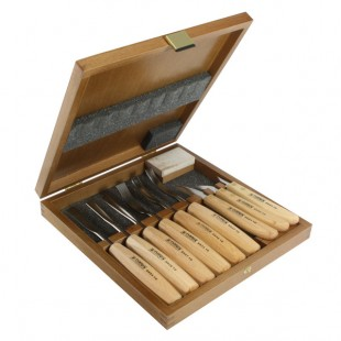Set of Carving Chisels in Wooden Box 9pcs