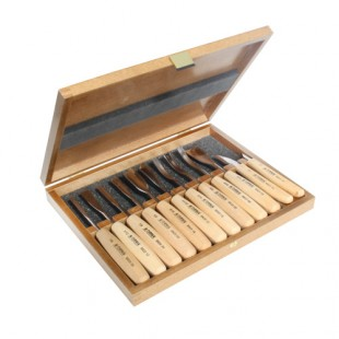 Set of Carving Chisels in Wooden Box 12pcs